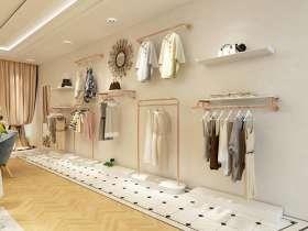 服装店不锈钢玫瑰金上墙展示架图片