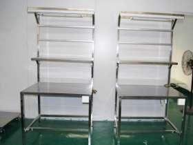 带置物架的不锈钢桌子