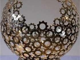 金色立体镂空不锈钢水果盘