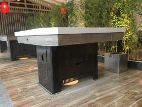 无烟火锅桌 不锈钢金属火锅桌